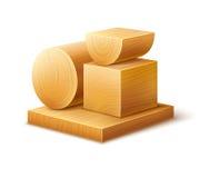 Träverkträworkpieceskvarter av olika former Arkivbilder