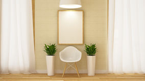 Trävit stol med ramen och flowerpot--3Dtolkningen Royaltyfria Bilder