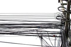 Tråd för elektricitetskabeltelefon och optisk tråd för fiber Fotografering för Bildbyråer