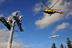 tråd för rep för block för batterihelikoptermontering arkivbilder