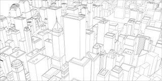 Tråd-ram New York City, ritningstil Royaltyfri Foto