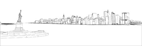 Tråd-ram New York City, ritningstil Arkivfoton