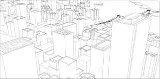 Tråd-ram New York City, ritningstil vektor illustrationer