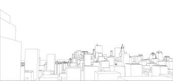 Tråd-ram New York City, ritningstil stock illustrationer
