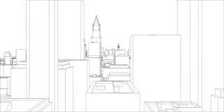 Tråd-ram New York City, ritningstil royaltyfri illustrationer