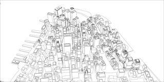 Tråd-ram New York City, ritningstil Arkivbild