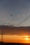 Trådar av aftonen för elektriska strömförsörjningar Royaltyfri Bild