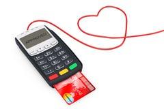 Trådar för kreditkortbetalningterminal i form av hjärta 3d sliter Royaltyfria Bilder