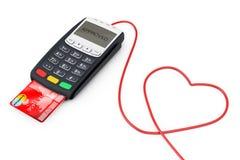 Trådar för kreditkortbetalningterminal i form av hjärta 3d sliter Royaltyfri Bild