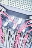 Trådar för rosa färg- och gulingtelekommunikationdator royaltyfri fotografi