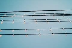 Trådar med gatalampor på en klar himmelbakgrund royaltyfri foto