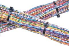 Trådar med kabelkontakter Arkivfoto