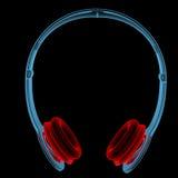 Trådlös hörlurar (röda och blåa genomskinliga för röntgenstråle 3D) Arkivbild