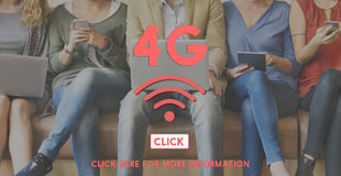 trådlös internet som 4G knyter kontakt online-begrepp Royaltyfri Bild