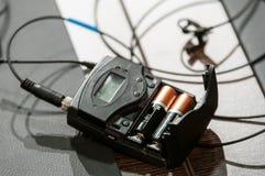 Trådlös mikrofonsändare Arkivfoto