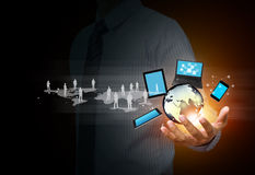 Trådlös teknologi och socialt massmedia arkivfoton