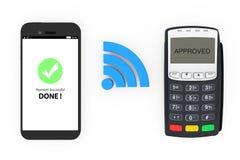 Trådlöst betalningbegrepp Mobiltelefon med pos.-terminalen och Wir royaltyfri illustrationer