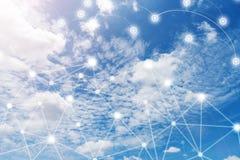 Trådlöst kommunikationsnätverk, IoT internet av saker och ICT I stock illustrationer