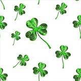 Trèfle d'effet du jour 3d de St Patrick au-dessus de fond de l'espace Salutation décorative sale ou carte postale Texture sans jo Image stock