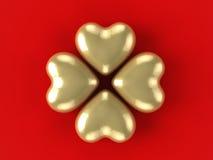 Trèfle de feuilles de l'or 4 Images libres de droits
