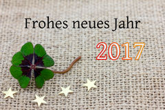 Trèfle et étoiles chanceux pour nouveau Year& x27 ; s Ève 2017 Photographie stock