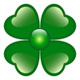 Trèfle vert avec quatre lames Photo stock