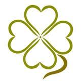 Trèfle vert de quatre coeurs, usine pour la bonne chance illustration libre de droits