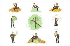 Très argent de Rich Man Bathing In His, série heureuse de caractère masculin de magnat de millionnaire d'illustrations illustration libre de droits