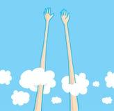 Très haut dans le ciel cinq au-dessus des nuages Image libre de droits