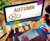 Trébol Concep de la organización de Autumn Season Change Falling Calendar Fotografía de archivo