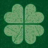 Trébol de la hoja del Grunge cuatro Imágenes de archivo libres de regalías