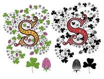 Trébol de la letra S stock de ilustración
