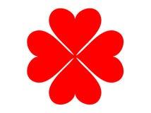 Trébol del corazón de cuatro hojas Fotos de archivo