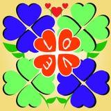 Trébol del corazón del amor Foto de archivo libre de regalías