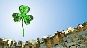 Trébol del efecto del día 3d de St Patrick sobre el fondo abstracto del paisaje de la montaña de las cajas del metal Saludo decor ilustración del vector