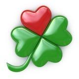 Trébol rojo, verde afortunado del corazón Fotos de archivo