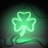 Trébol verde oscuro de neón stock de ilustración