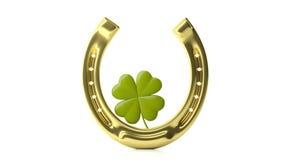 Trébol y herradura de la hoja del ` s cuatro de St Patrick aislados en el fondo blanco ilustración 3D Fotos de archivo libres de regalías