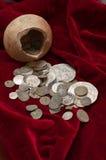 Trésor antique des pièces de monnaie Image libre de droits