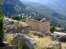 Trésor des Athéniens, Delphes, Grèce photos stock