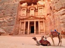 Trésor et chameaux de PETRA Images libres de droits