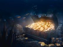Trésor submergé au fond de la mer image libre de droits