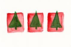 Três árvores de Natal abstratas Fotos de Stock Royalty Free