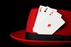 Três ás no chapéu de feltro; conceito para jogar Fotos de Stock Royalty Free