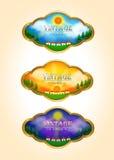 Três ícones da etiqueta da paisagem do tempo-lapso do vintage Fotografia de Stock