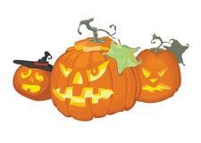 Três abóboras para Halloween Foto de Stock Royalty Free