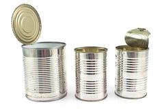Três abrem a lata de lata vazia Imagem de Stock Royalty Free