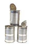 Três abrem a lata de lata vazia Imagem de Stock