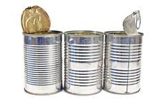 Três abrem a lata de lata vazia Fotos de Stock