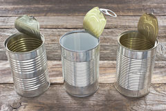Três abrem a lata de lata vazia Foto de Stock Royalty Free